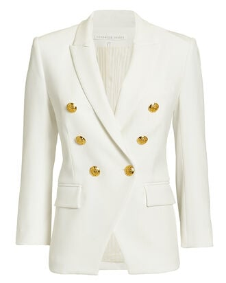 Empire Double Breasted Blazer, WHITE, hi-res