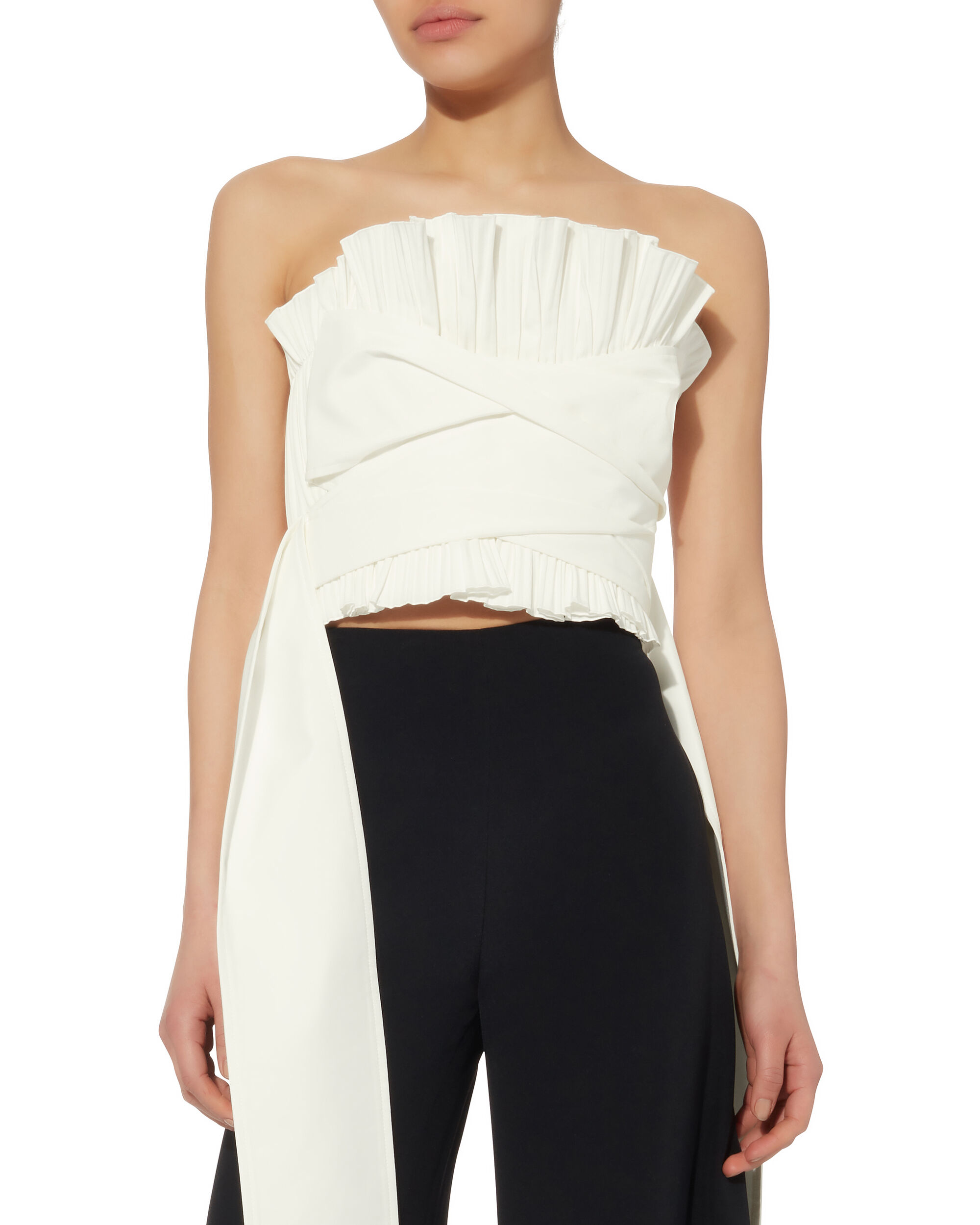 Pleated Bustier Top, WHITE, hi-res
