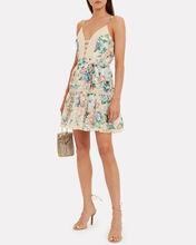 Verity Scalloped Silk Floral Dress, CREAM/FLORAL, hi-res