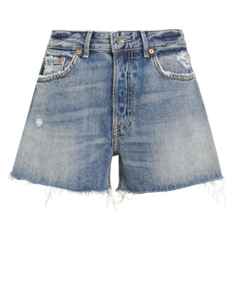 Helena Distressed Denim Shorts, MEDIUM WASH DENIM, hi-res