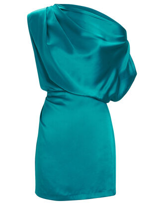 One-Shoulder Draped Mini Dress, TURQUOISE, hi-res