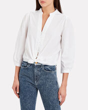 Violet Cotton Poplin Top, WHITE, hi-res