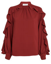 Annie Ruffle Sleeve Blouse, ORANGE, hi-res
