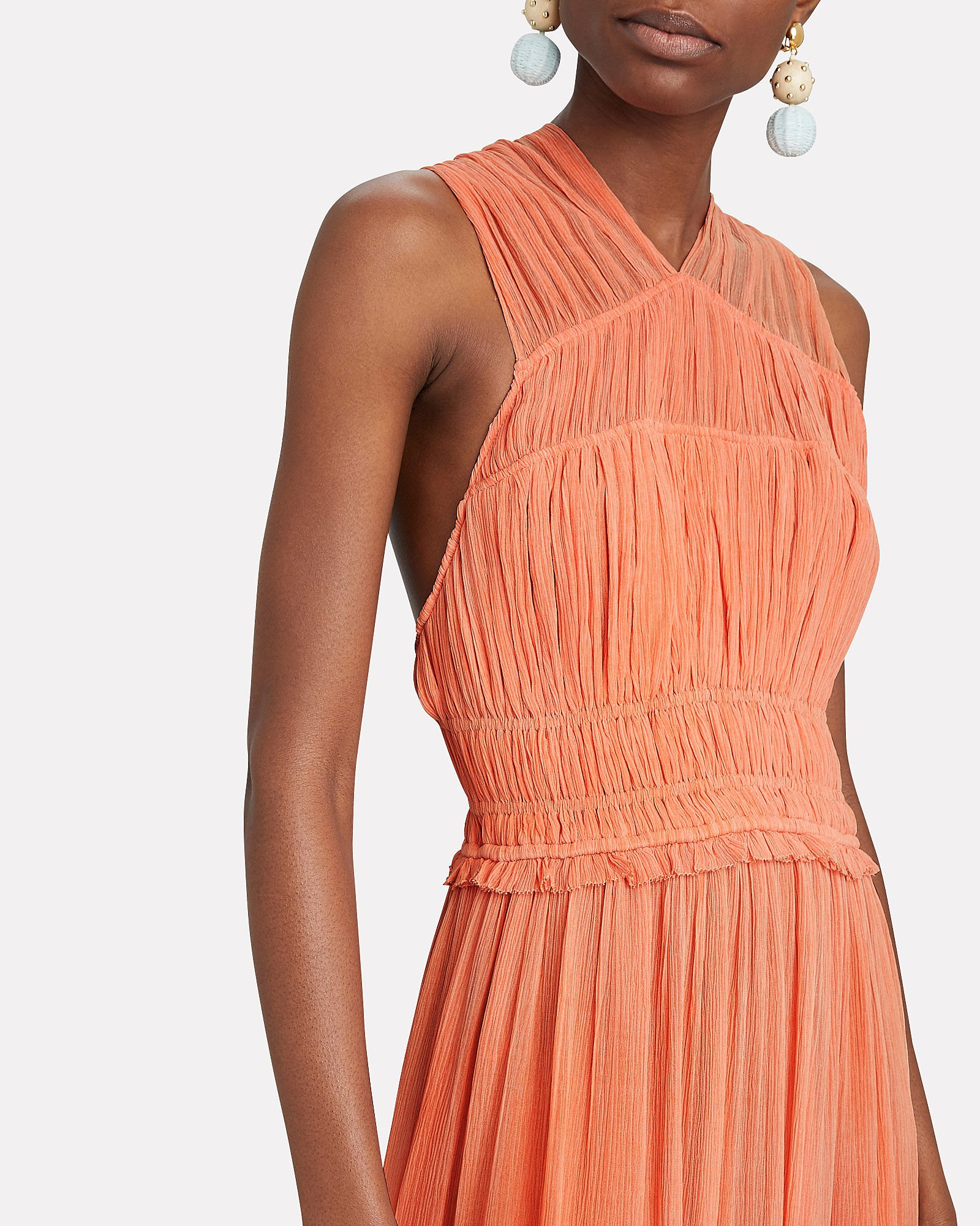 Freesia Silk Gauze Gown, CORAL, hi-res