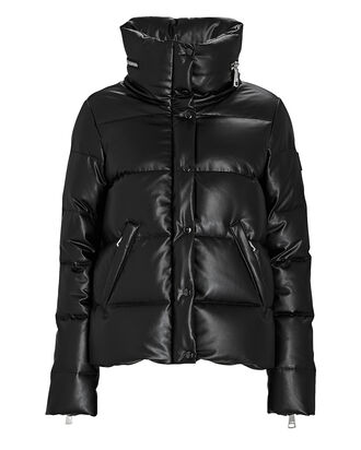Isabel Vegan Leather Puffer Jacket, BLACK, hi-res