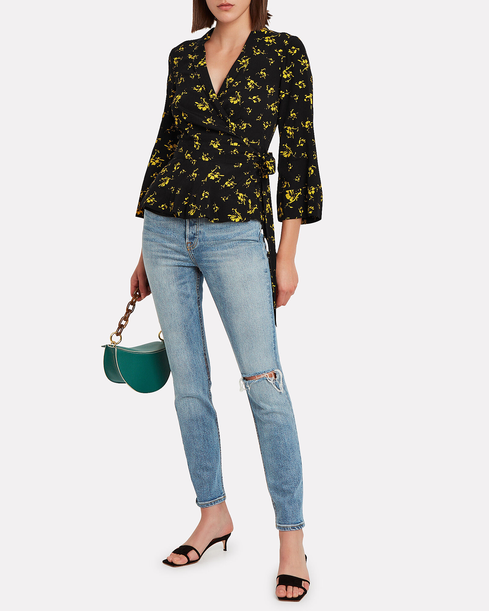 Floral Crepe Wrap Top, BLACK, hi-res