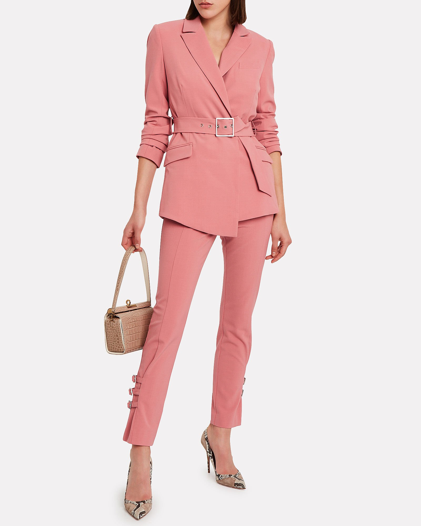 Wool-Blend Buckled E-Cig Trousers, CORAL, hi-res