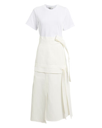 Tie Front Midi Dress, WHITE/BEIGE, hi-res