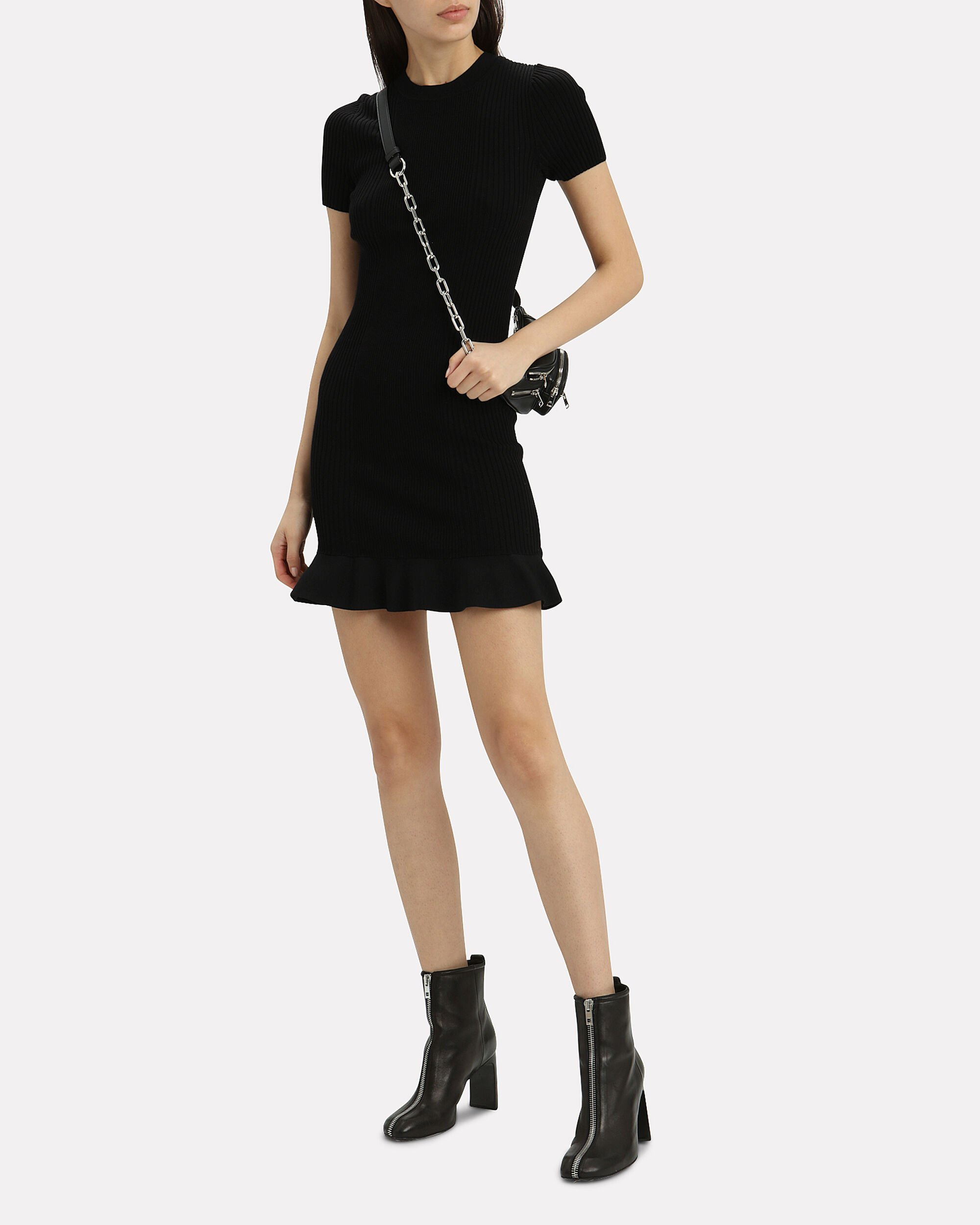 Ribbed Knit Dress, BLACK, hi-res