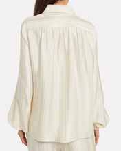 Isako Jacquard Crepe Button Front Blouse, IVORY, hi-res