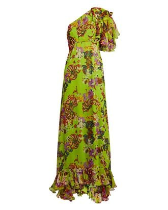 Danielle One-Shoulder Floral Maxi Dress, GREEN, hi-res
