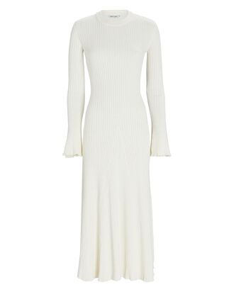 Isla Open Back Knit Midi Dress, IVORY, hi-res