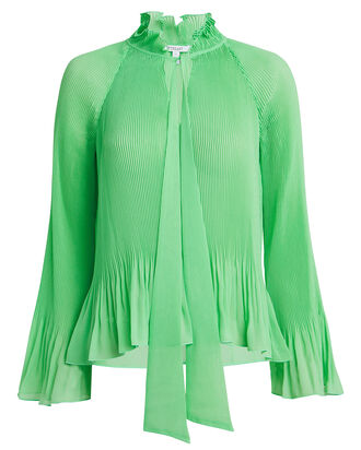 Pleated Tie Neck Blouse, MINT GREEN, hi-res