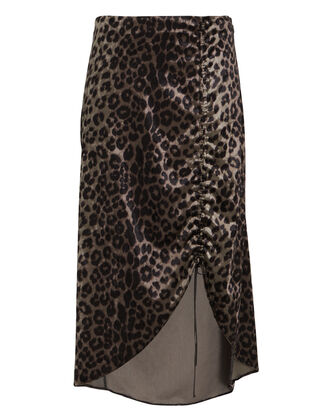 Dakota Ruched Leopard Midi Skirt, MULTI, hi-res