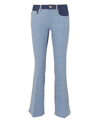 Saint Germain Striped Crop Flare Jeans, BLUE-DRK, hi-res