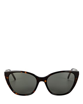 Soft Narrow Cat Eye Sunglasses, BROWN, hi-res