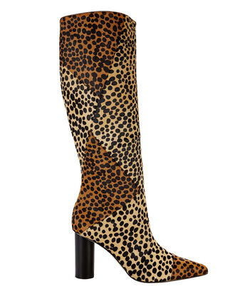 Jerri Leopard Calf Hair Knee-High Boots, LEOPARD, hi-res