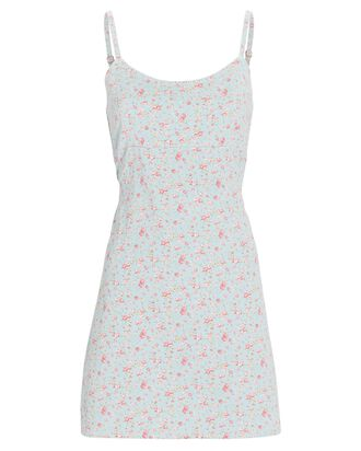 Floral Empire Waist Mini Dress, BLUE-LT, hi-res