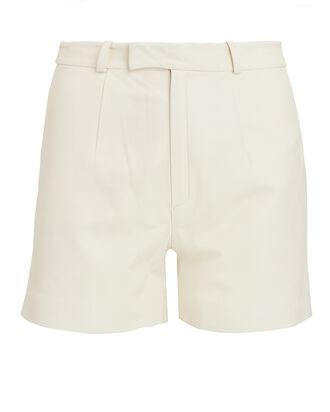 Mom High-Waist Leather Shorts, IVORY, hi-res