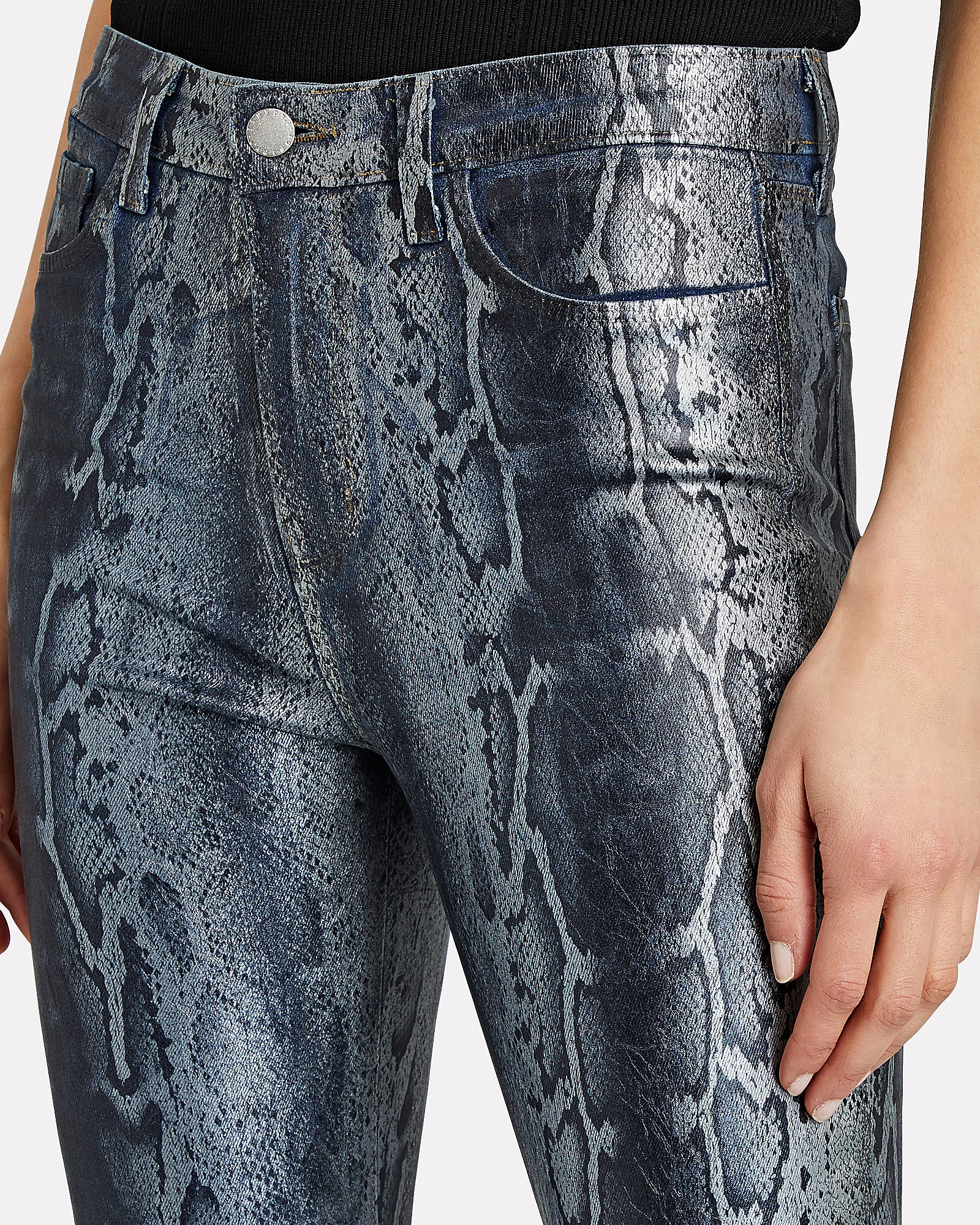 Margot Foiled Snake-Print Skinny Jeans, MULTI, hi-res