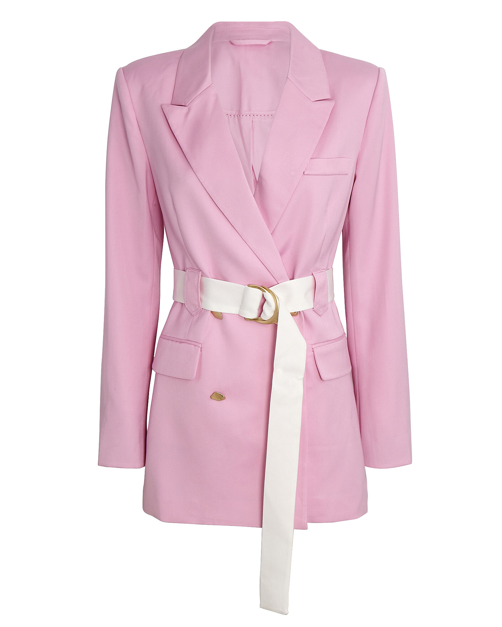 Psychedelia Belted Double-Breasted Blazer, PINK, hi-res