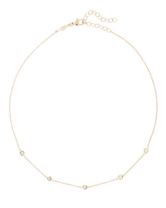 Spaced Out Diamond Necklace, GOLD, hi-res
