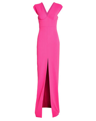 Ziva Split Front Gown, HOT PINK, hi-res