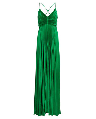 Aries Pleated Cut-Out Gown, GREEN, hi-res