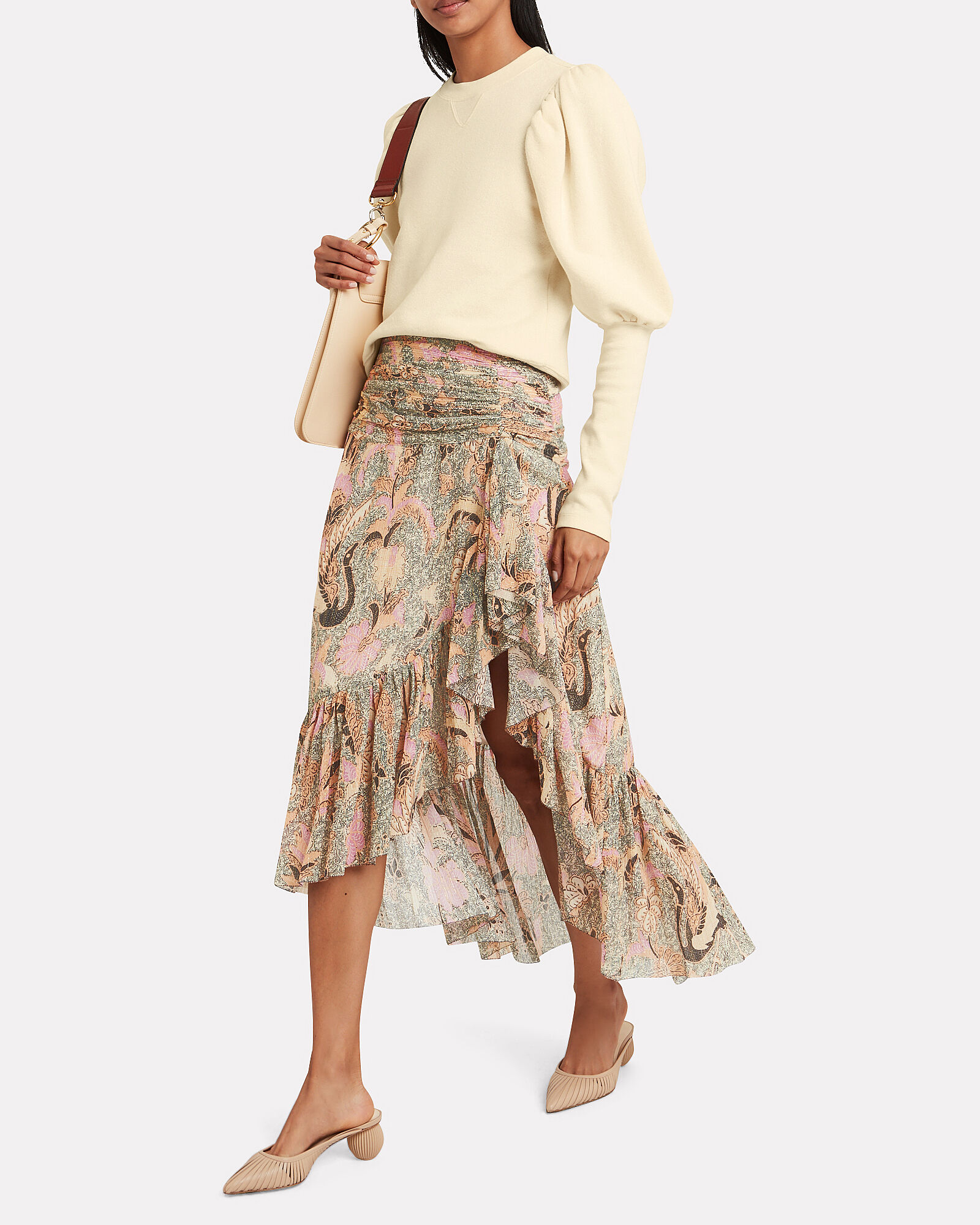 Ailie Birds Of Paradise Georgette Skirt, PINK, hi-res