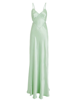 Open Back Satin Gown, MINT, hi-res