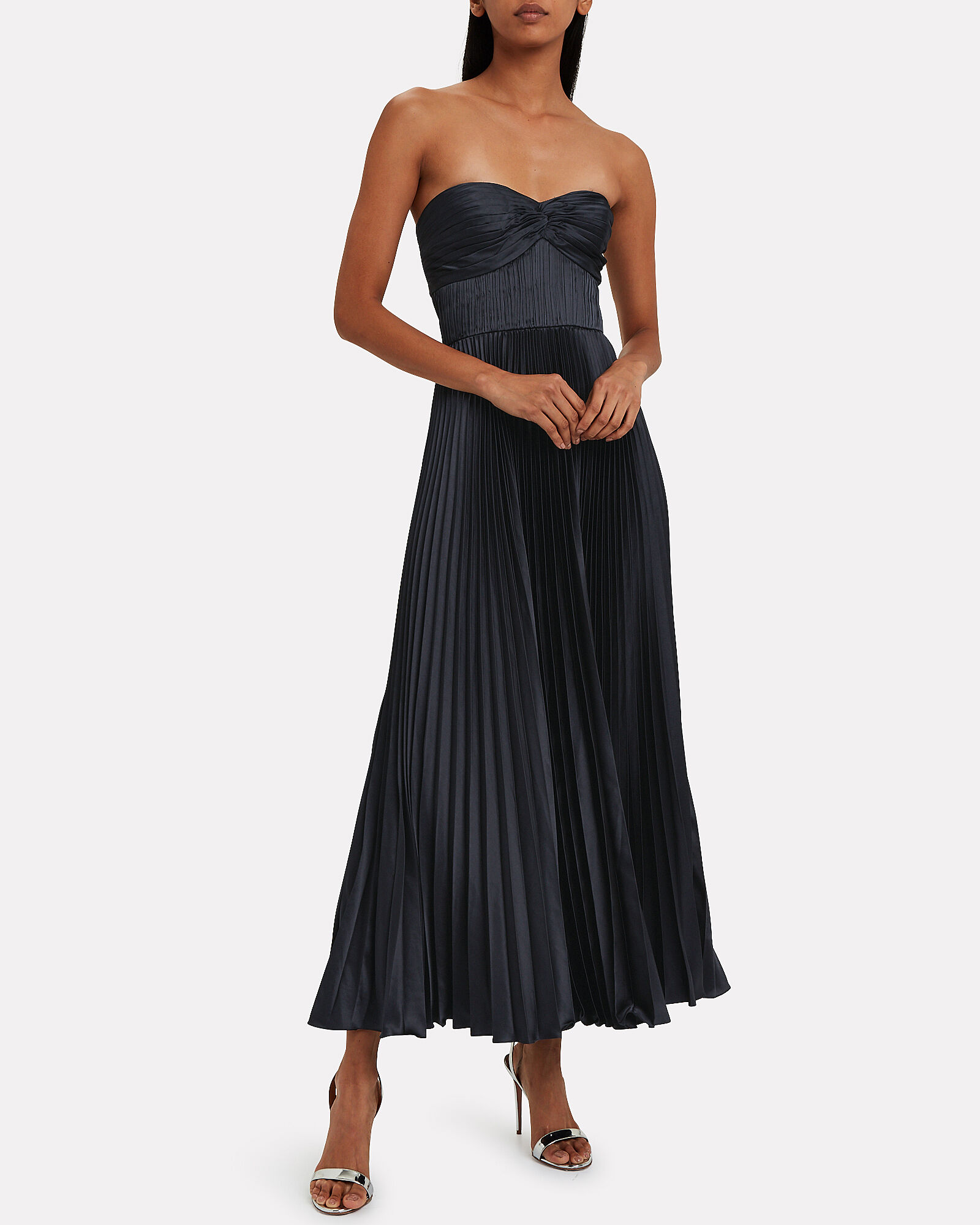 Belle Satin Pleated Gown, NAVY, hi-res