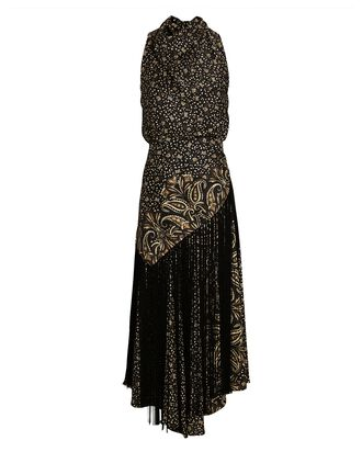 Dahlia Paisley Midi Halter Dress, BLACK/BEIGE, hi-res