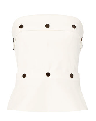 Button-Detailed Strapless Corset Top, WHITE, hi-res