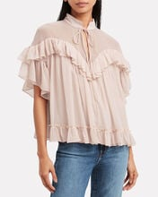 Tiered Swing Chiffon Blouse, BLUSH, hi-res