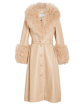 Foxy Shearling Patent Leather Coat, BEIGE, hi-res