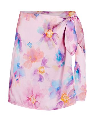 Dani Floral Silk Wrap Skirt, LIGHT PURPLE, hi-res