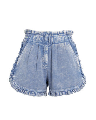 Idun Ruffled Denim Shorts, MEDIUM WASH DENIM, hi-res