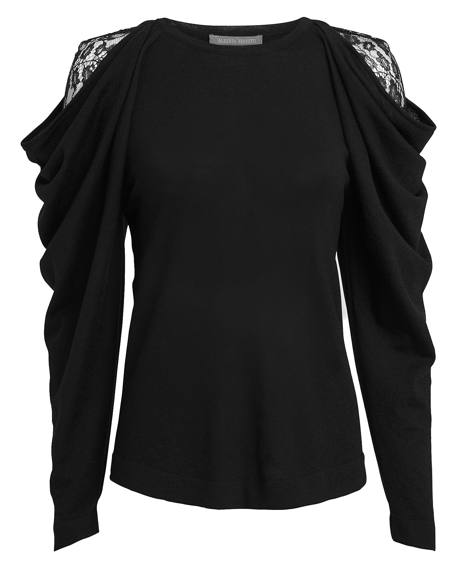 Cold Shoulder Lace Sweater, BLACK, hi-res