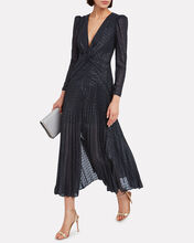 Fil Coupé Twisted Metallic Dress, NAVY, hi-res
