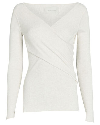 Carl Rib Knit Wrap Top, WHITE, hi-res