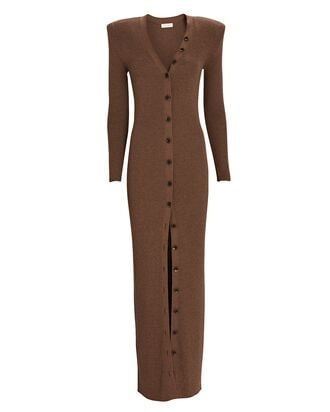Vianne Rib Knit Maxi Dress, BROWN, hi-res