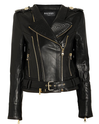 Perfecto Cropped Leather Moto Jacket, BLACK, hi-res