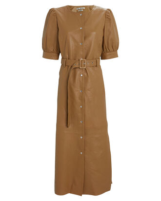Suri Leather Shirt Dress, BROWN, hi-res