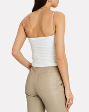 Ruched Cropped Cotton Tank Top, WHITE, hi-res