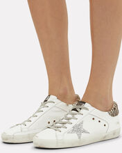Superstar Glitter Zebra Low-Top Sneakers, WHITE, hi-res