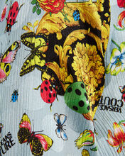 Butterfly Crepe Button Down Blouse, BLUE/BUTTERFLY PRINT, hi-res