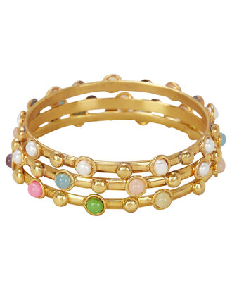 Candie Gemstone Bangles, GOLD, hi-res