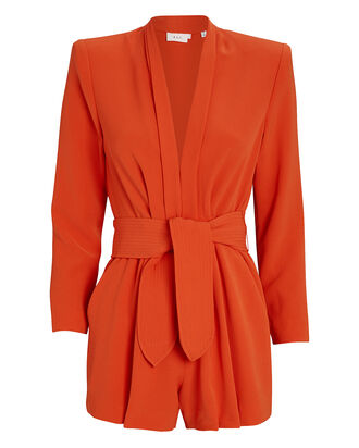 Heston Sash Tie Crepe Romper, ORANGE, hi-res