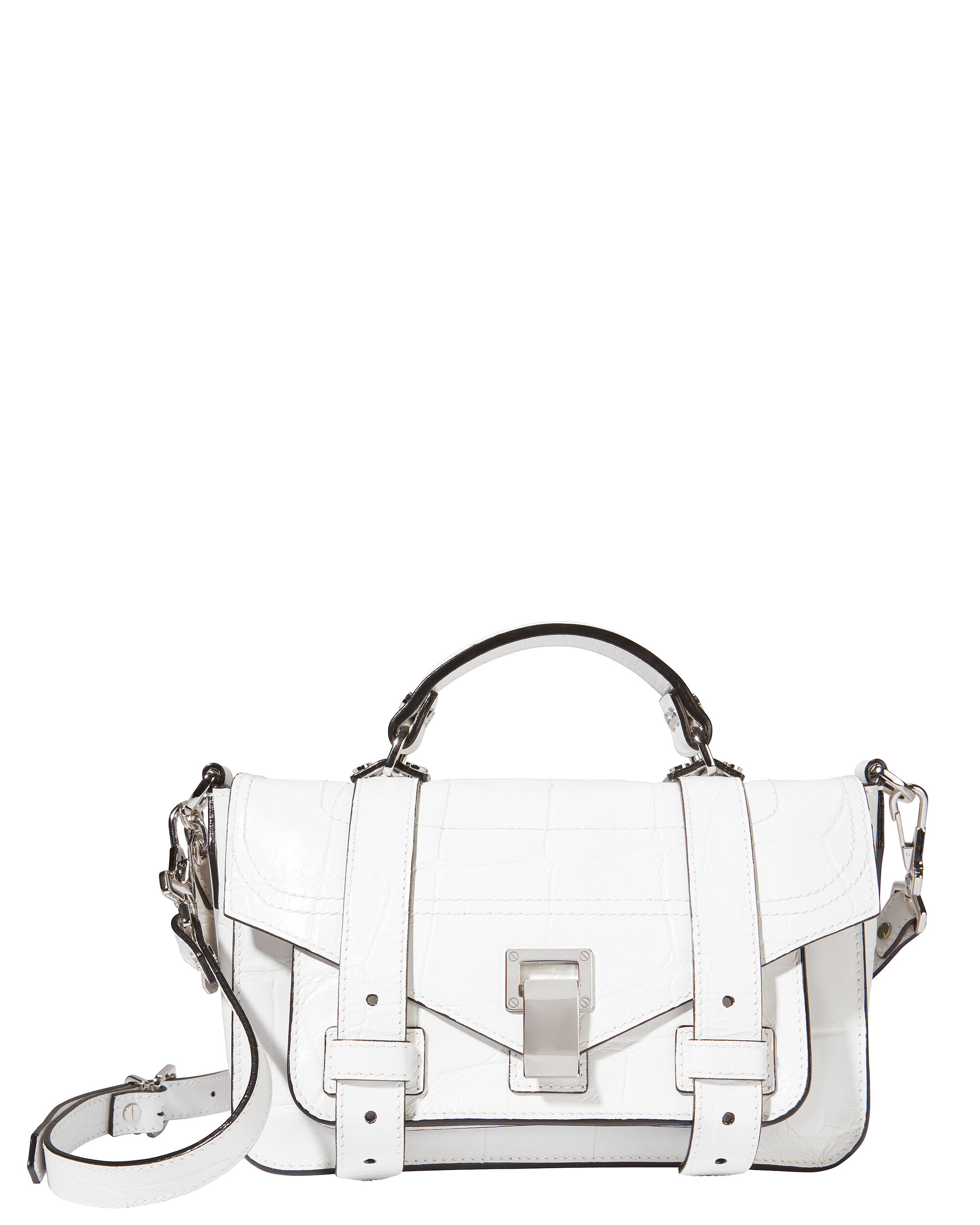 PS1 Plus Tiny Croc-Embossed White Leather Bag, WHITE, hi-res