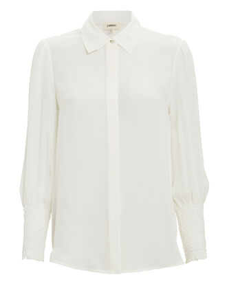 Lucin Smocked Cuff Blouse, WHITE, hi-res